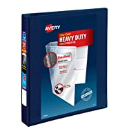 """Avery Heavy Duty View 3 Ring Binder, 1"""" One Touch EZD Ring, Holds 8.5"""" x 11"""" Paper, 1 Navy Blue Binder (79809)"""