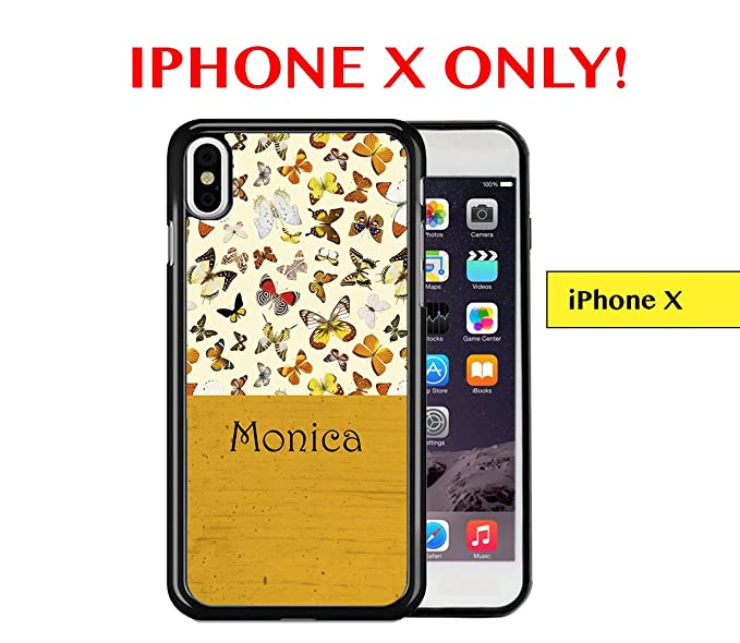 IPHONE X - Custom Monogram Name Personalized (MONICA) Butterflies Mustard Yellow Wallpaper Block Apple