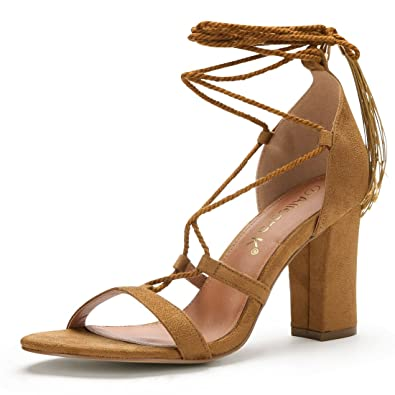60beb552701061 Allegra K Women s High Block Heel Tassel Closure Lace up Sandals (Size US 5)