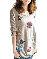 Minetom Femmes Manches Longues Floral Casual Jolie Lâche Graffiti t-shirt Tops