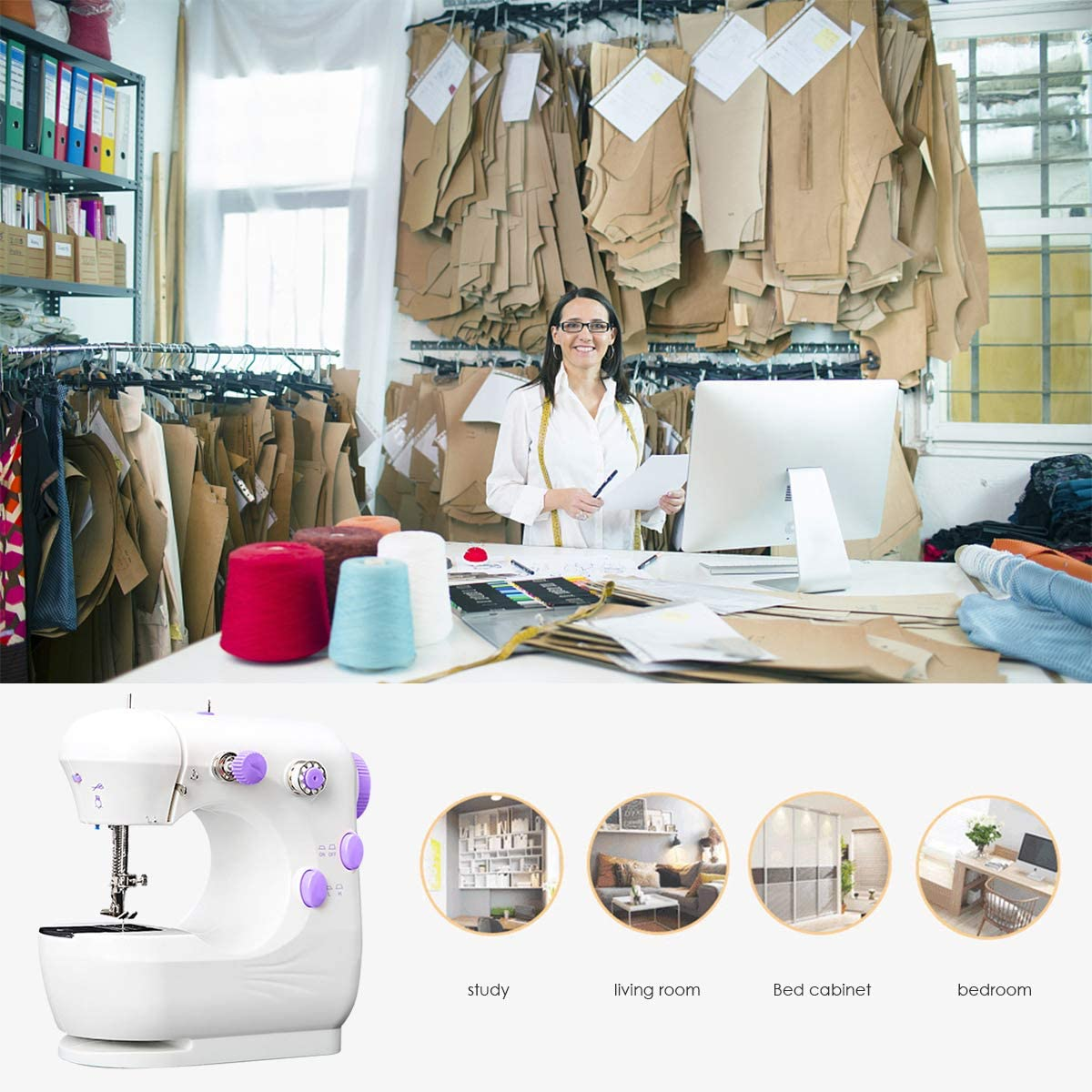 iFCOW Sewing Machine Electric Sewing Machine Multi-Function Portable Crafting Sewing Machine with Foot Pedal 2-Speed Adjustable