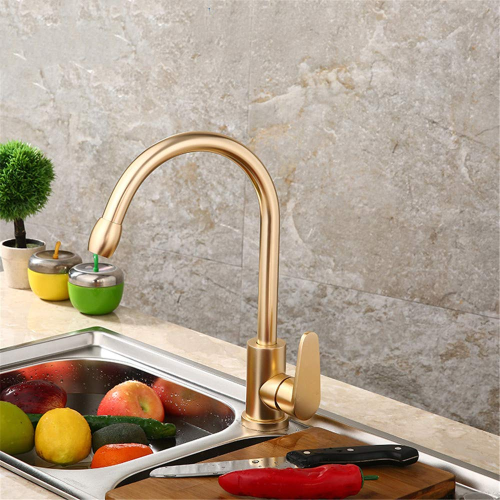 XPYFaucet Space Aluminum gold Kitchen Faucet,Sink Hot And Cold Mixed Faucet