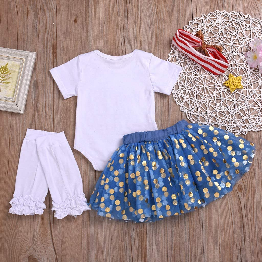 4th of July Clothes Infant Baby Girl Cute Tutu Romper Skirt Set 4pcs American Holiday Print Outfits