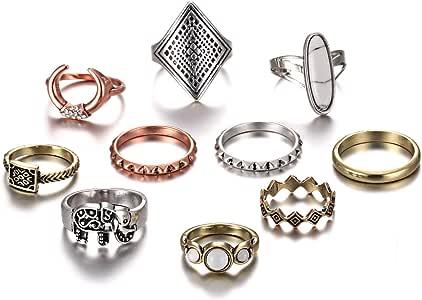 RINHOO FRIENDSHIP 10PCS Bohemian Retro Vintage Crystal Joint Knuckle Ring Sets Finger Rings