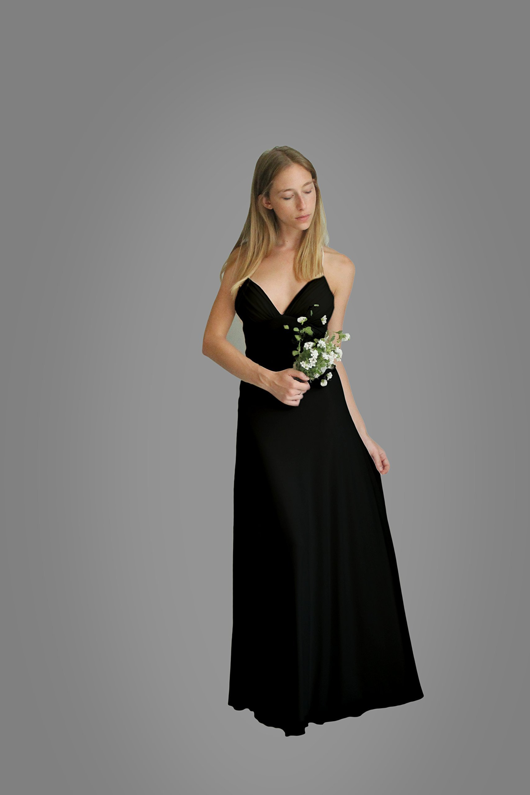 Women's Dress, Black Evening Dress, Size L, Maxi Long Dress for Wedding or Bridesmaid, Chiffon Lycra Classic Gown