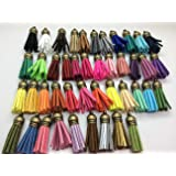 44pcs of Multi-Colors Leather Tassel with Bronze Caps Cell Phone Straps/DIY Charms GD44ST02