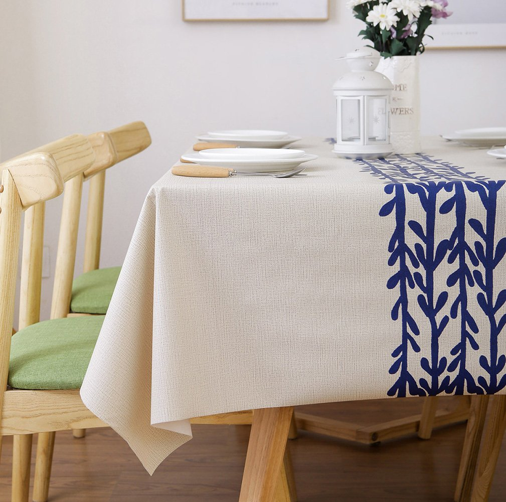 LEEVAN Heavy Weight Vinyl Rectangle Table Cover Wipe Clean PVC Tablecloth Oil-Proof/Waterproof Stain-Resistant-54 x 108 Inch(Rattan) - Material: 100% PVC, grade A vinyl heavy weight tablecloth, Variety stylish pattern of same PVC tablecloth available in LeeVan Store Spills, oil and liquids bead up and won't leak through the tablecloth so your tablecloth looks fresher longer Smooth surface and durable for any table setting whether casual or formal - tablecloths, kitchen-dining-room-table-linens, kitchen-dining-room - 71s1b68bsIL -