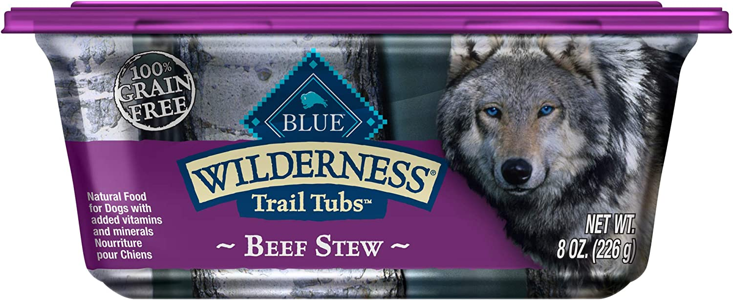 Blue Buffalo Wilderness Trail Tubs High Protein Grain Free Natural Adult Wet Dog Food Tubs, 8-oz (Pack of 8)