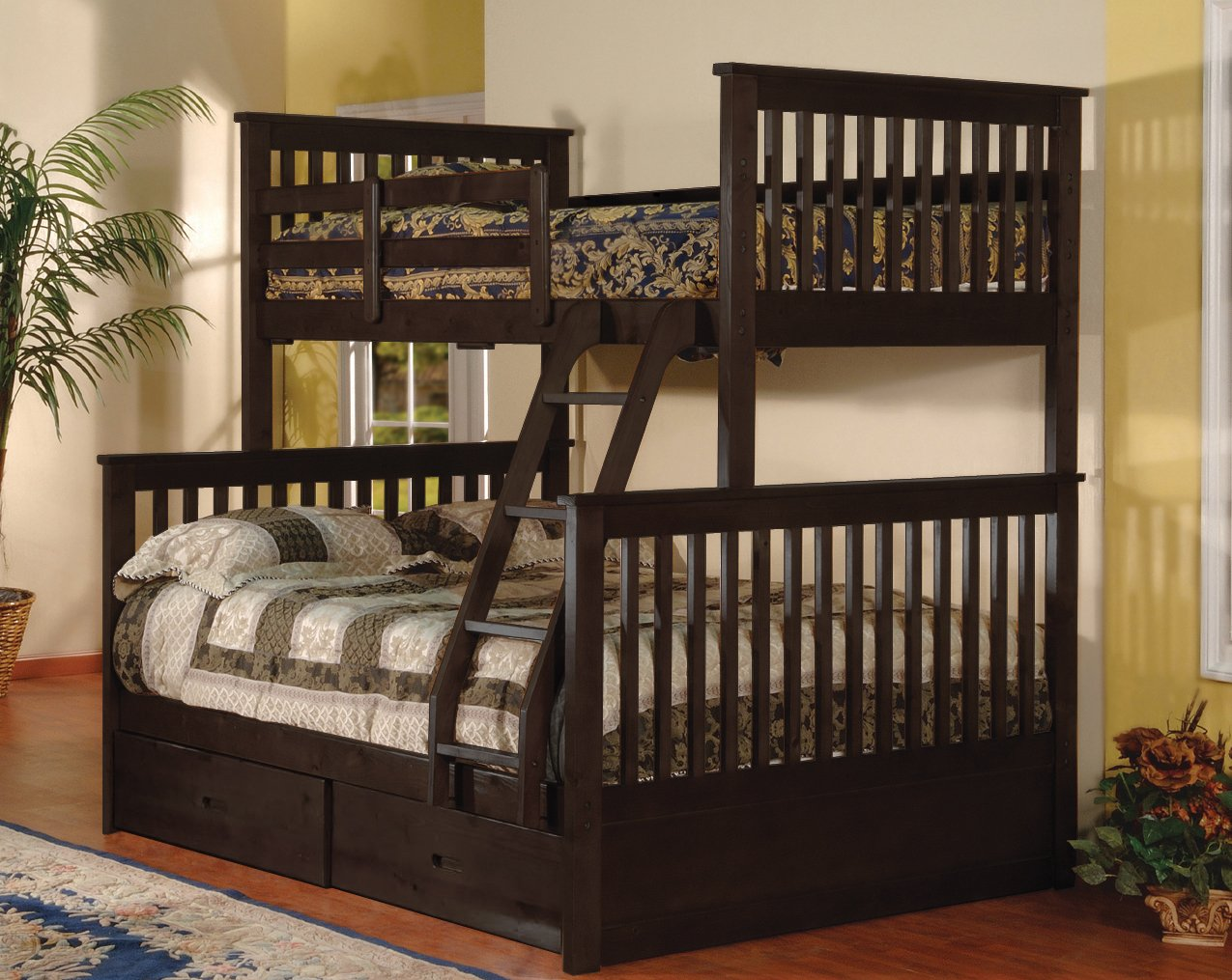 amazoncom twin over full bunk bed with drawers espresso color kitchen u0026 dining