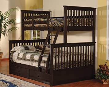 twin over full bunk bed with drawers espresso color