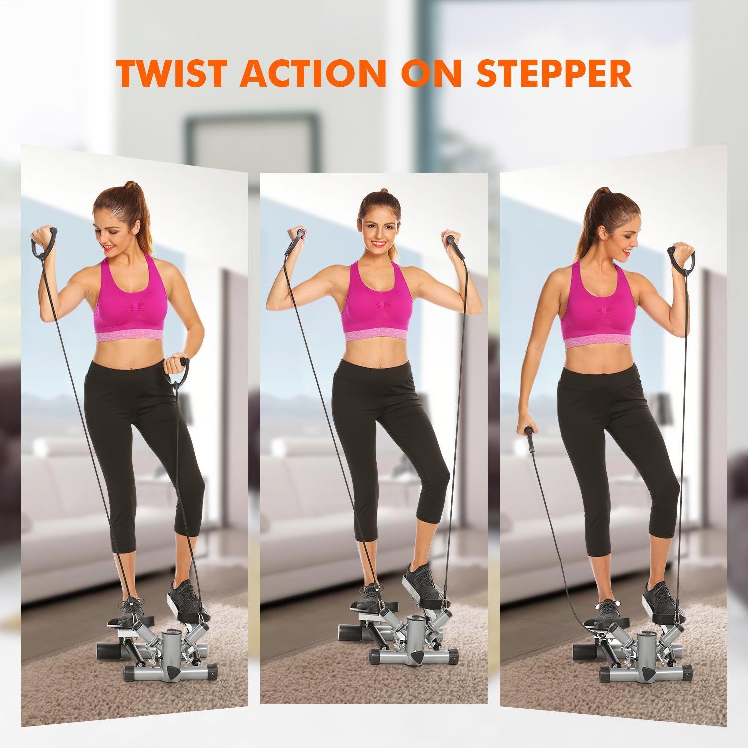 Mini Exercise Stepper Machine, Adjustable Fitness Stepper Air Stair Climber Step with Resistance Bands for Indoor Home Exercise [US STOCK] by Evokem