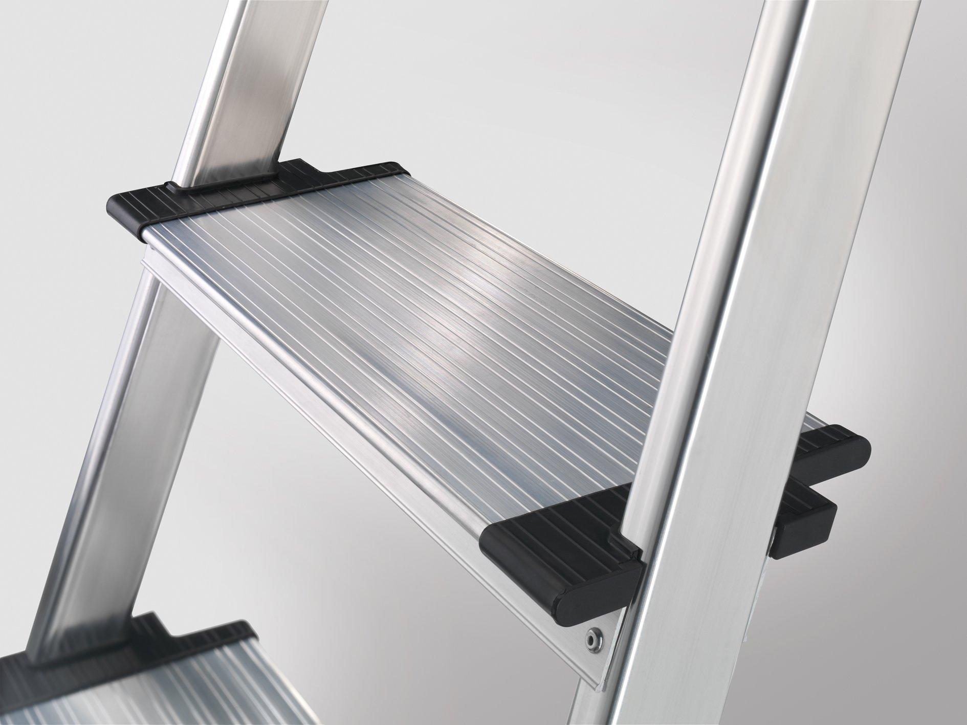 Hailo 8030-627 XXR Comfortline 6Step Folding Lightweight Aluminum Step Ladder with Worktray Silver