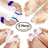 Bunion Corrector & Bunion Relief Kit - cure Pain in big toe joint, tailors bunion, Hallux Valgus, Hammer Toe, Toe Separators Spacers straighteners splint Aid surgery treatment (8 pcs)