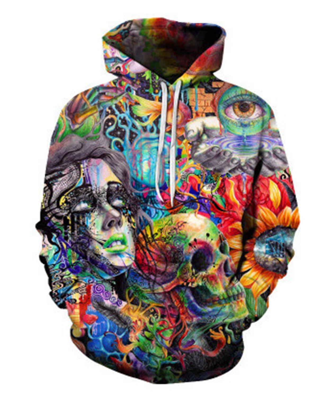 FZUU Couples skull head sweatshirt 3D printing hooded sweater
