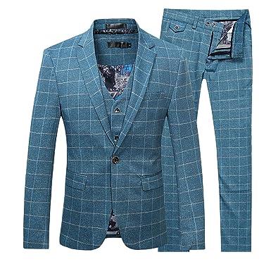 huge discount 8254f ef093 Allthemen Herren 3 Teilig Slim Fit Karierte Anzug Vintage Sakko