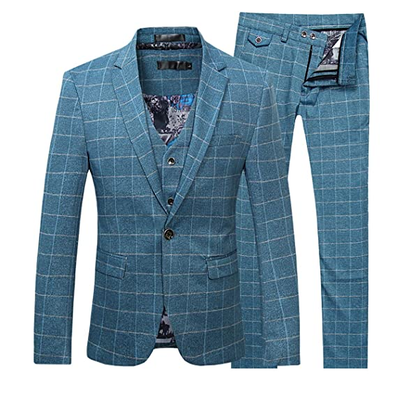 Traje a Cuadros Moderno para Hombre Traje de 3 Piezas Blazer Vintage Chaqueta Tux Chaleco y Pantalones Azul Rojo
