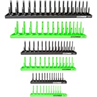 OEMTOOLS 22233 6 Piece Socket Tray Organizer Set, Green and Black, Socket Rails, Holds 80 SAE & 90 Metric Sockets, 1/4…
