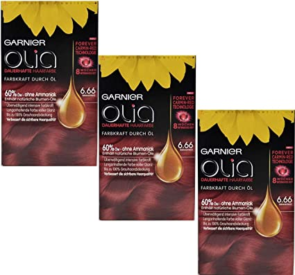3 x Garnier Olia pelo Color Granate Rojo 6.60, contiene 60 ...