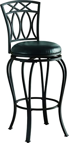 29 Elegant Metal Bar Stool with Faux Leather Seat Black