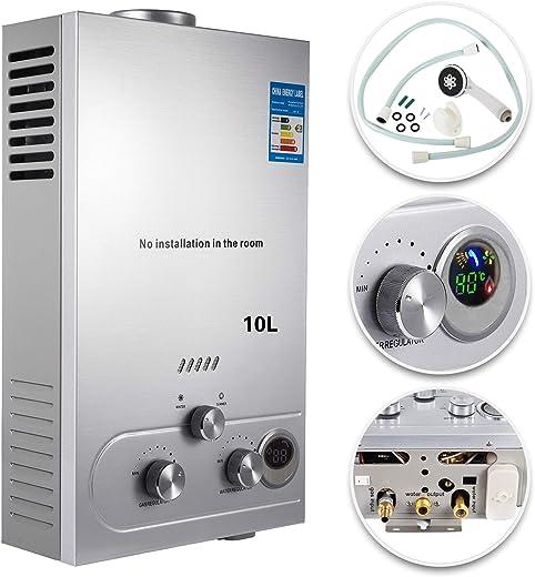 VEVOR 10L LPG Warmwasserbereiter Gas Propangas Durchlauferhitzer Warmwasserbereiter Boiler Warmwasserspeicher Tankless Instant mit Duschkopf und…