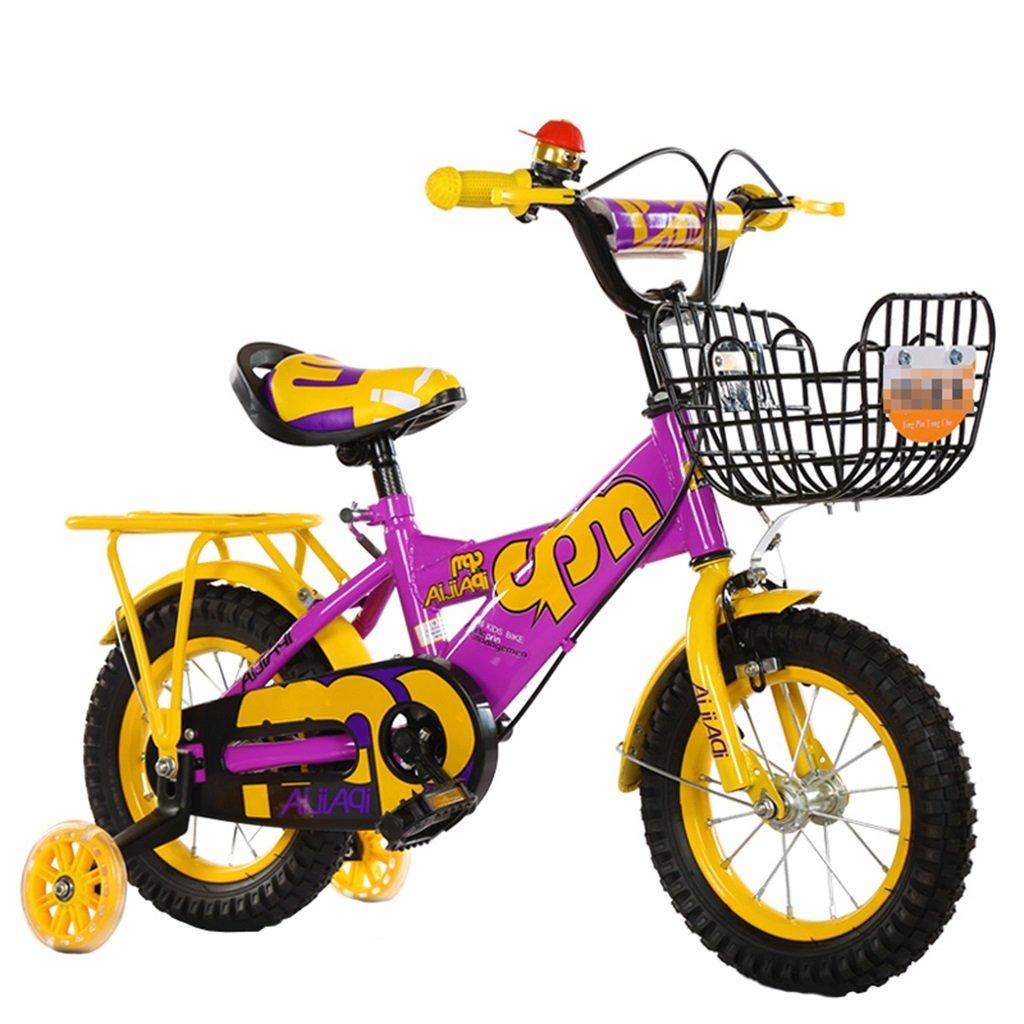 KANGR-子ども用自転車 子供の自転車適切な2-3-6-8男の子と女の子子供のおもちゃアウトドアマウンテンバイクハンドルバー/サドルの高さは、フラッシュトレーニングホイールで調節可能 後部座席-12 / 14/16/18インチ ( 色 : イエロー いえろ゜ , サイズ さいず : 16 inch ) B07BTV62RQ 16 inch|イエロー いえろ゜ イエロー いえろ゜ 16 inch