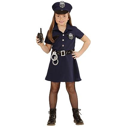 WIDMANN 49086 ? Disfraz para niños Agente de Policía, vestido, cinturón, sombrero, Esposas, de walkie talkie, tamaño 128