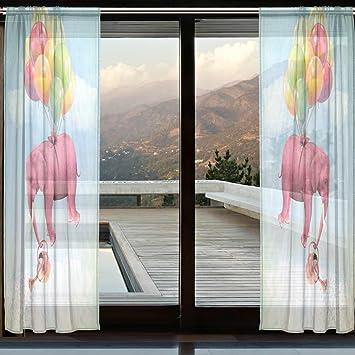Wozo Custom Hipster Pink Elefant Fenster Sheer Vorhang Panels, Gießkanne  Moderne Fenster Behandlung Panel Für