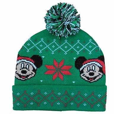 Amazon Disney Mens Green Mickey Mouse Christmas Beanie Stocking
