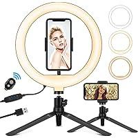 "Luz de anillo para selfie de 10,2"" con trípode, soporte para teléfono y mando a distancia Bluetooth, luz circular…"