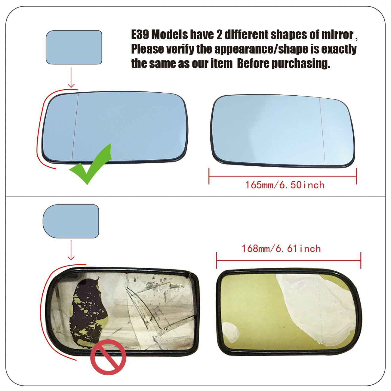 Left Right Side Heated Wing Mirror Glass For BMW E39//E46 323i 328i 525i 528i 540i