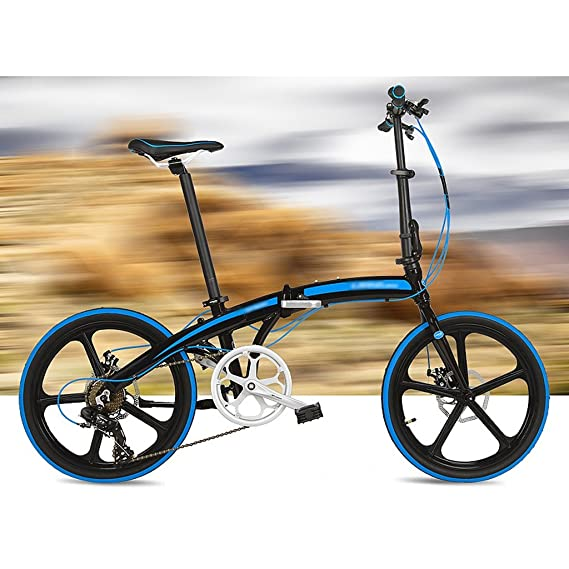 Bicicleta plegable 20 pulgadas de aleación de aluminio ultraligero rueda pequeña 7 velocidades de freno de disco bicicleta (Color : Black blue) : ...