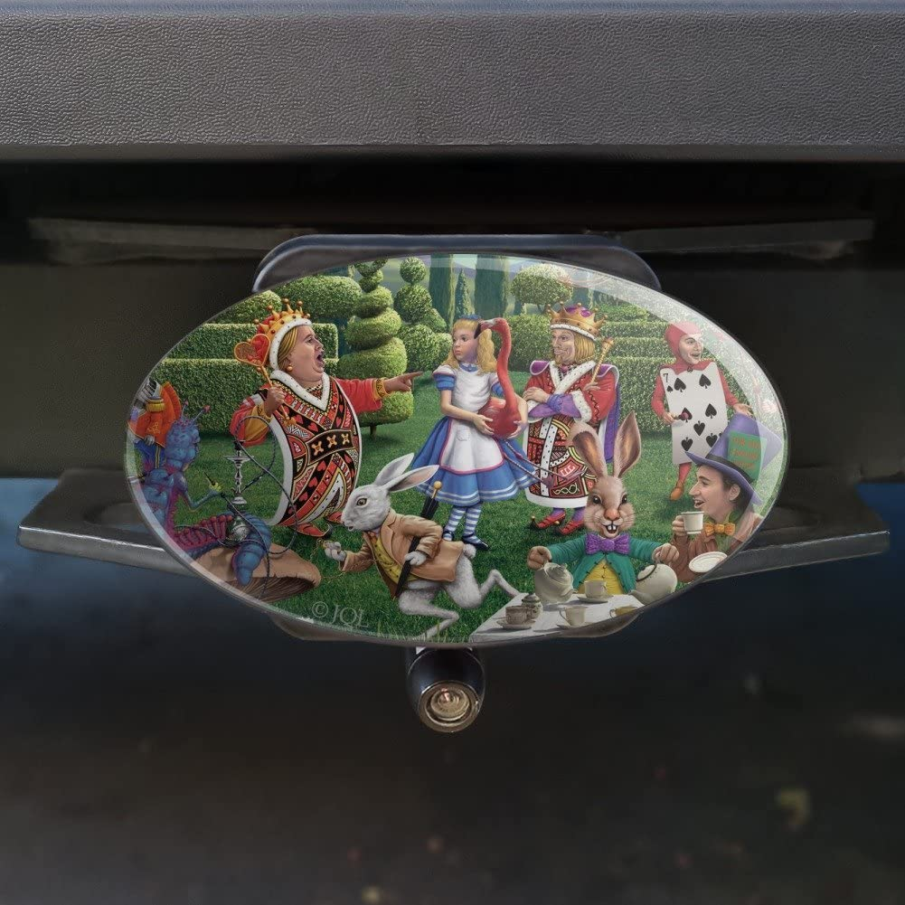Graphics and More Alice in Wonderland Garden Party Oval Tow Hitch Cover Trailer Plug Insert 2