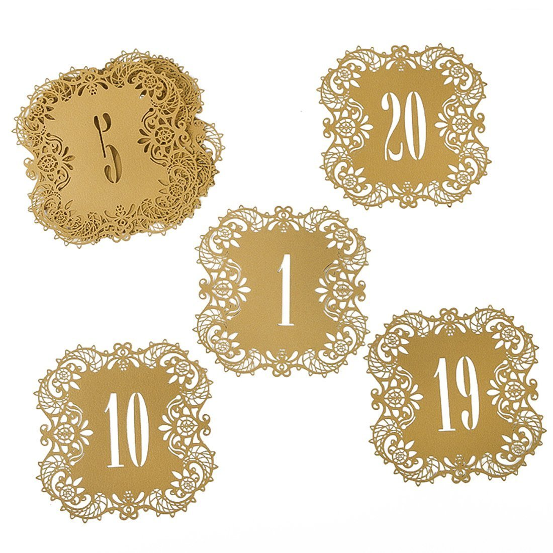 YUFENG Wedding Table Card Numbers Lace Table Cards for Wedding Reception Party Favors (beige gold 20pcs) YUFENG CRAFTS MANUFACTURE CO. LTD