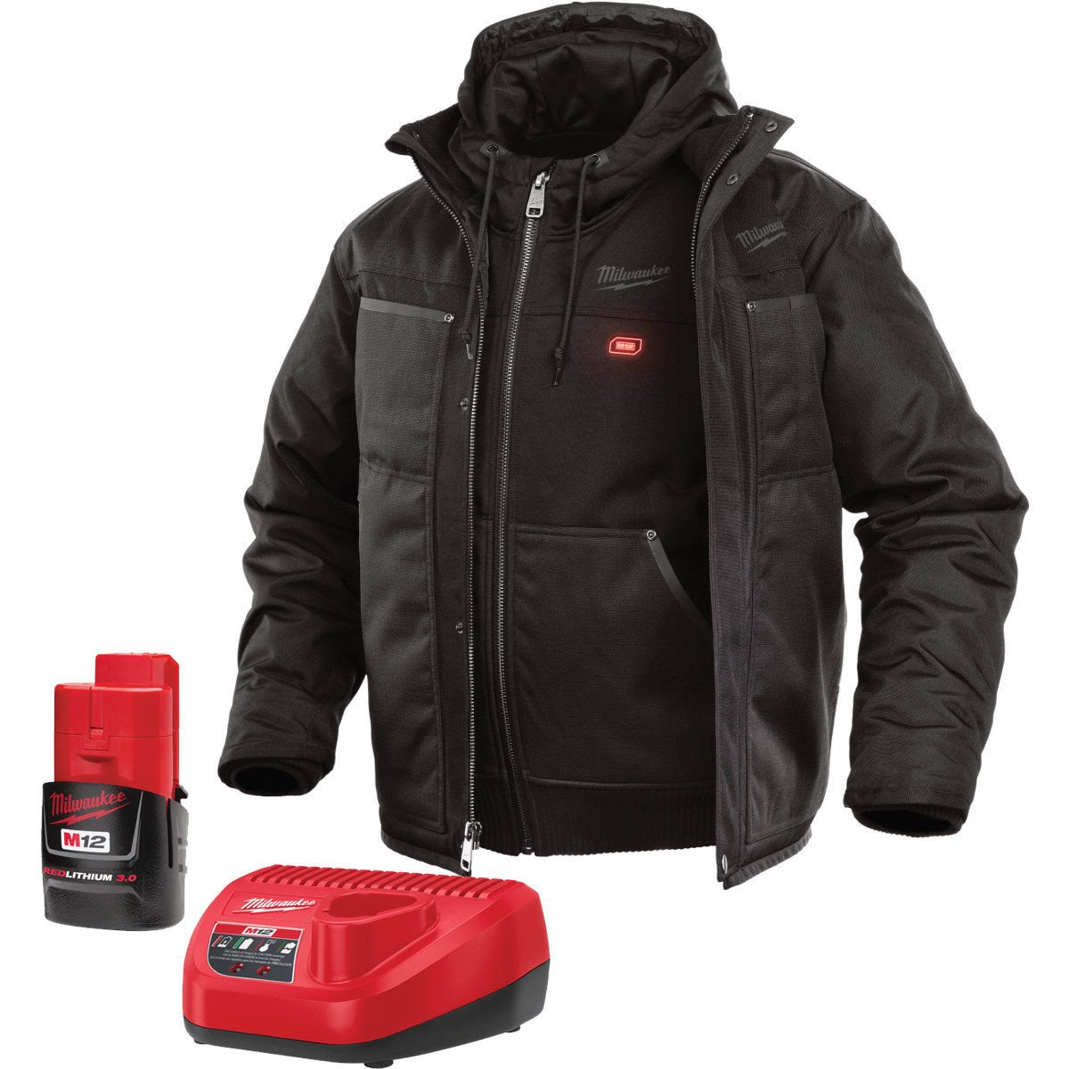 Milwaukee Jacket KIT M12 12V Lithium-Ion Heated Front and Back Heat Zones -All Sizes and Colors - Battery and Charger Included - (Large, Black 3-in-1)