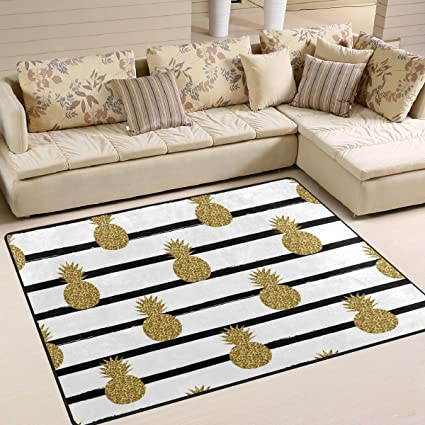 Area Rug 80x58 Inch Gold Glitter Pineapple Fruit On Black And White Striped For Living Room Bedroom by Rodde