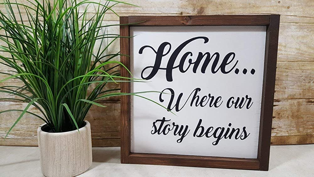 wedding sign gallery wall decor our story begins Home is where your story begins distressed 11 x 24 wood sign wedding gift