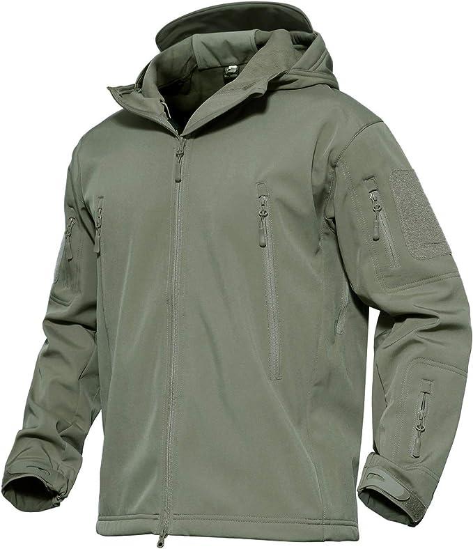 KEFITEVD Tactical Softshell Jacke Herren Fleece Gefüttert Wasserabweisend Atmungsaktiv Outdoorjacke mit Kapuze Angeln Jagd Jacke