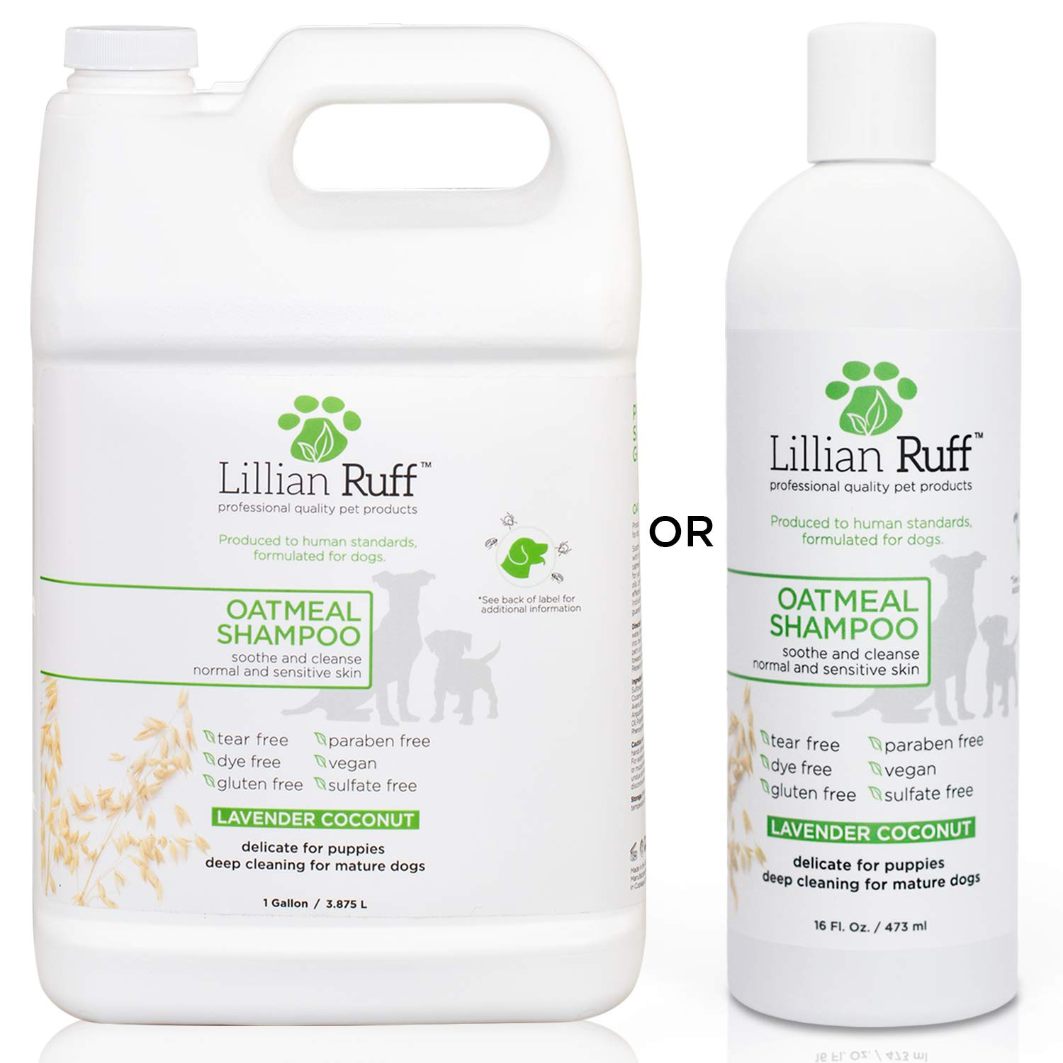 Lillian Ruff Oatmeal Dog Shampoo - Lavender Coconut Scent with Aloe - Deodorize and Soothe Dry Itchy Skin - Gentle Cleanser for Normal to Sensitive Skin (1 Gallon)