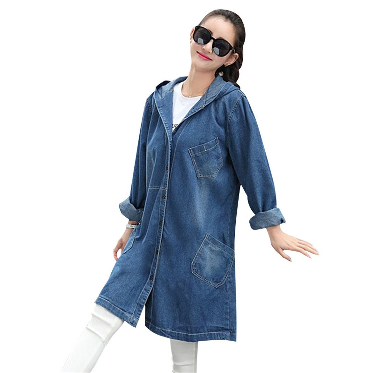 6b8f49b41 Shining4U Women Casual Loose Jean Jackets Girls Streetwear Plus Size ...