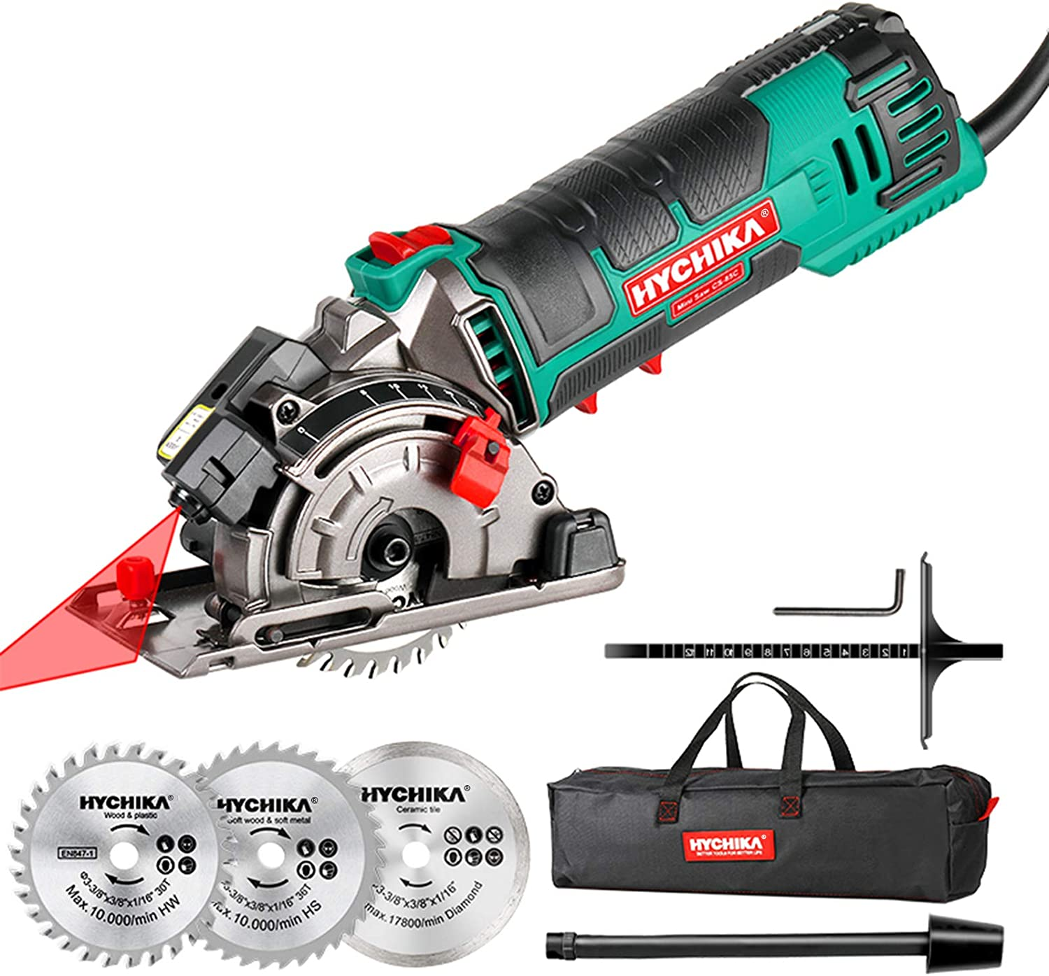 """Mini Circular Saw, HYCHIKA Compact Circular Saw Tile Saw with 3 Saw Blades 4A Pure Copper Motor, 3-3/8""""4500RPM Ideal for Wood, Soft Metal, Tile and..."""
