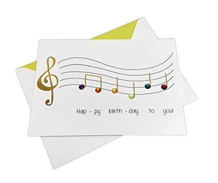 Embellished Musical Notes On Staff Happy Birthday To You 5quot X 7quot Greeting