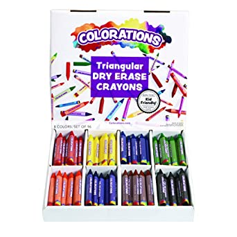 Amazon.com: Coloridos Non-Roll Crayon aula de borrado en ...