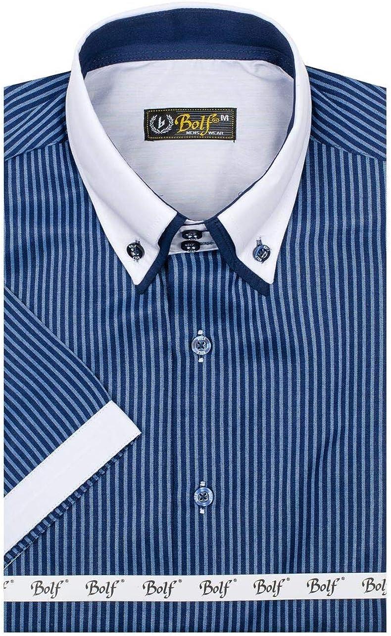 BOLF - Camisa casual - Manga Corta - para hombre Dunkelblau_1808 S: Amazon.es: Ropa y accesorios