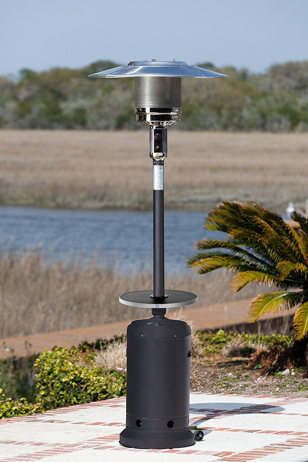 Exceptionnel Golden Flame 46,000 BTU [XL Series] Matte Black Patio Heater W/Drink Table  And Wheels (Propane)