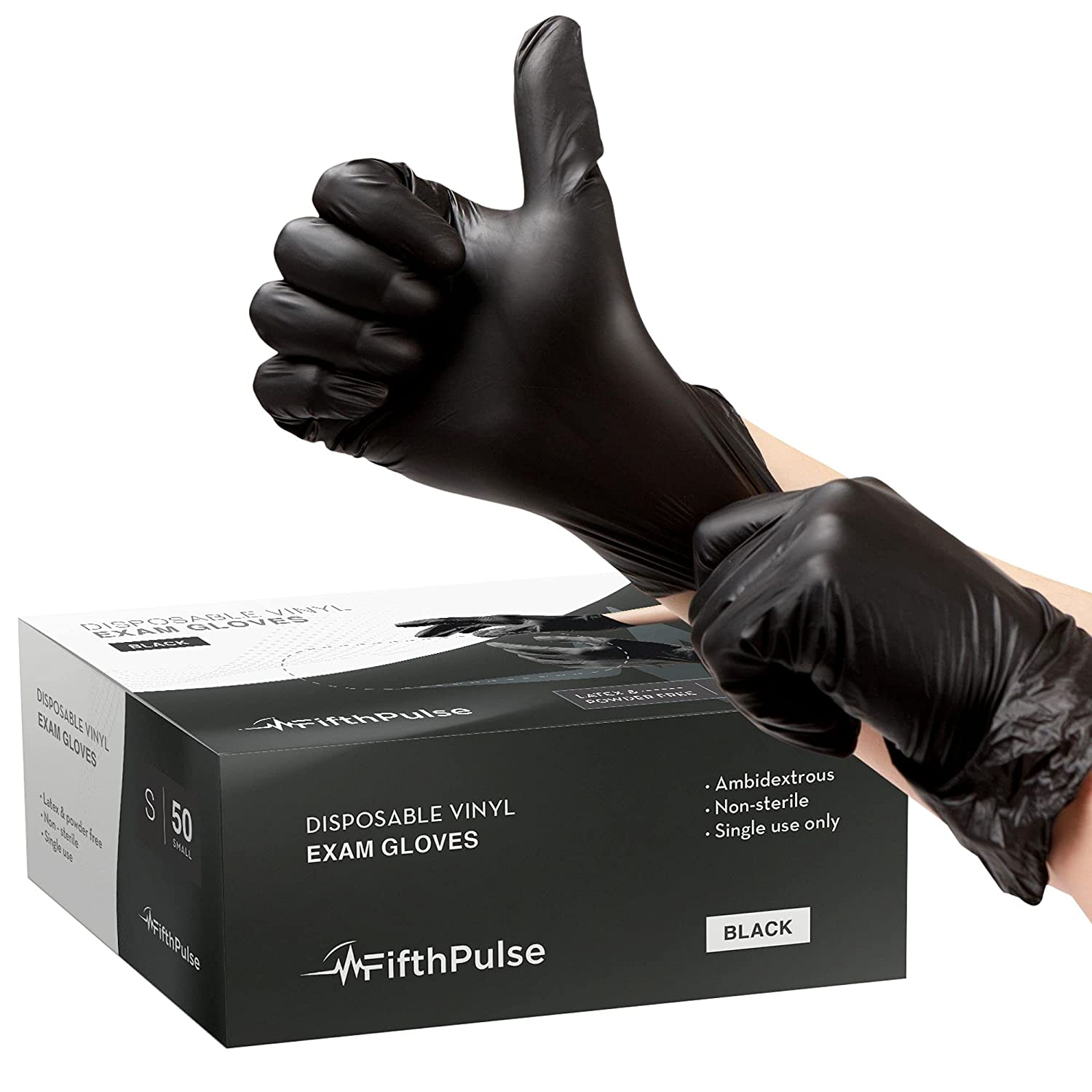 FifthPulse Black Vinyl Disposable Gloves Small 50 Pack - Latex Free, Powder Free Medical Exam Gloves - Surgical, Home, Cleaning, and Food Gloves - 3 Mil Thickness