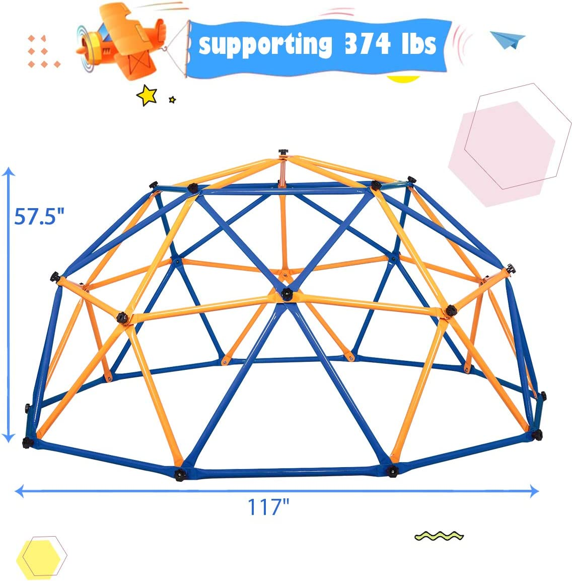 TOBBI Outdoor Dome Climber Backyard Playsets Jungle Gym Climbing Frame with 375 LBS Capacity for Kids Ages 3-10,Blue and Yellow