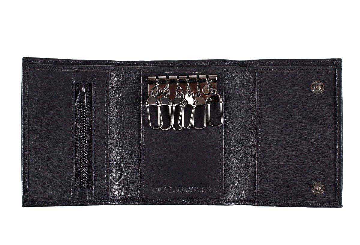Cartera de tarjetas y soporte llaves cuero negro blando: Amazon.es: Zapatos y complementos
