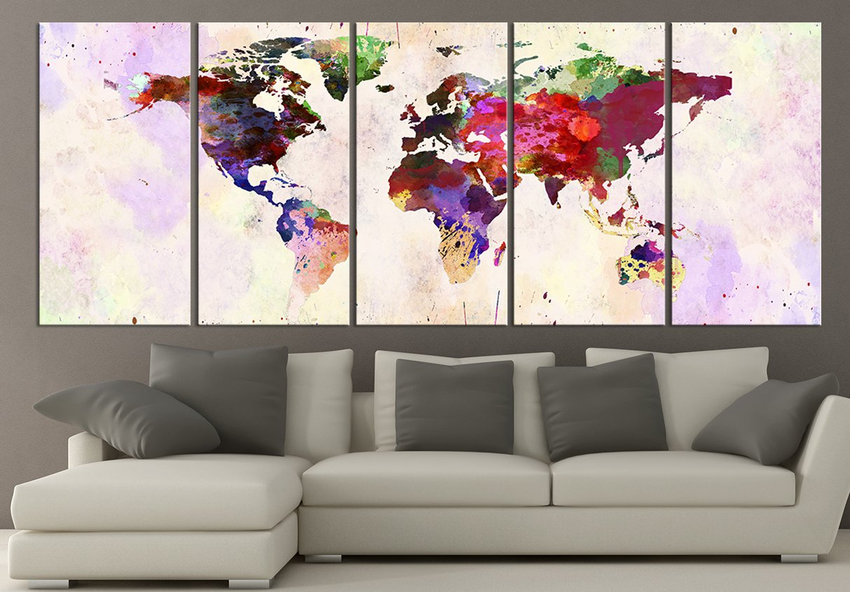 Amazon world map canvas print contemporary 5 panel colorful amazon world map canvas print contemporary 5 panel colorful abstract rainbow colors large wall art posters prints gumiabroncs Images