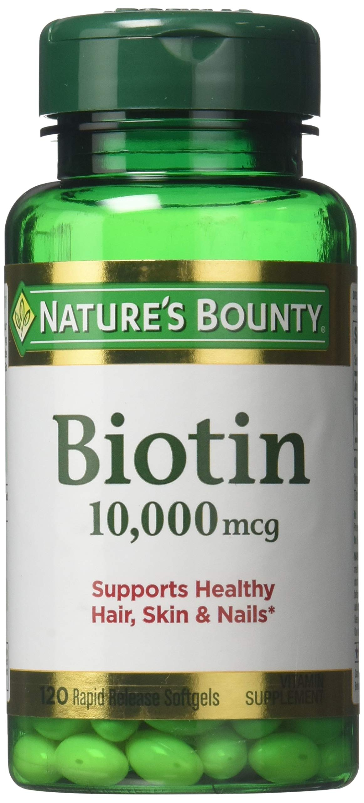 Nature's Bounty Biotin 10,000 mcg, Rapid Release Softgels 120 ea ( Pack of 2) by Nature's Bounty