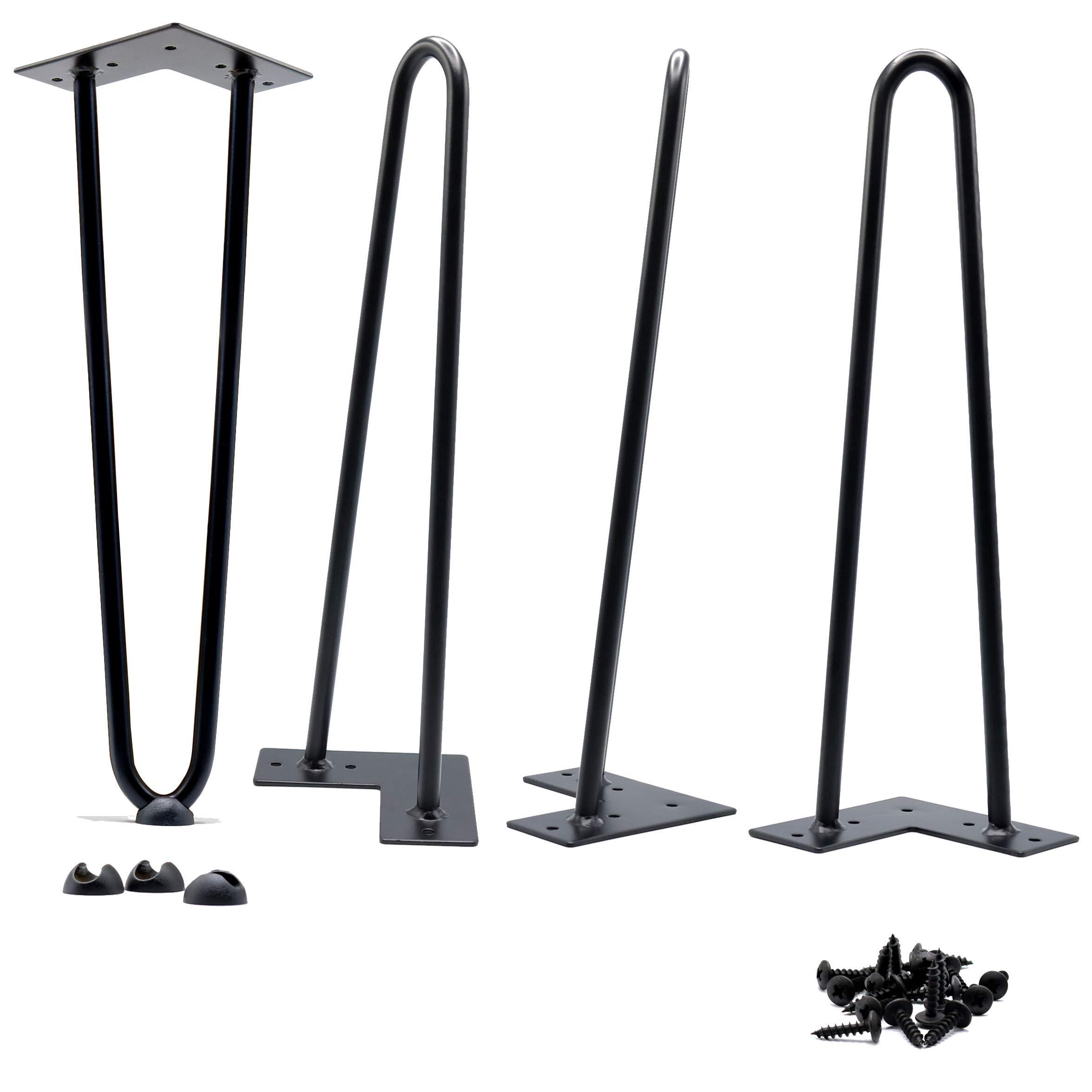 18'' Hairpin Legs 1/2'' [Satin Black] - Leg Protectors(4) + Screws(20) [Set of 4] - Metal Legs - Coffee Table Legs - Desk Legs - Furniture Legs - Mid Century Modern by Homeland Hardware